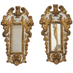 Pair of Italian Parcel Paint and Giltwood Mirrors