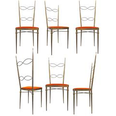 Set of Six Italian Brass-Plated Dining Chairs