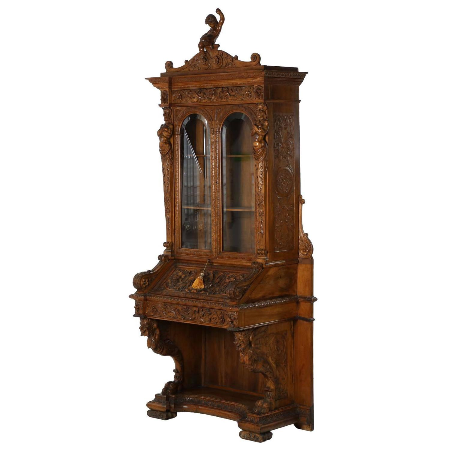 Italian Renaissance Revival Antique Secretary Desk with Bookcase, 19th  Century at 1stdibs - Italian Renaissance Revival Antique Secretary Desk With Bookcase
