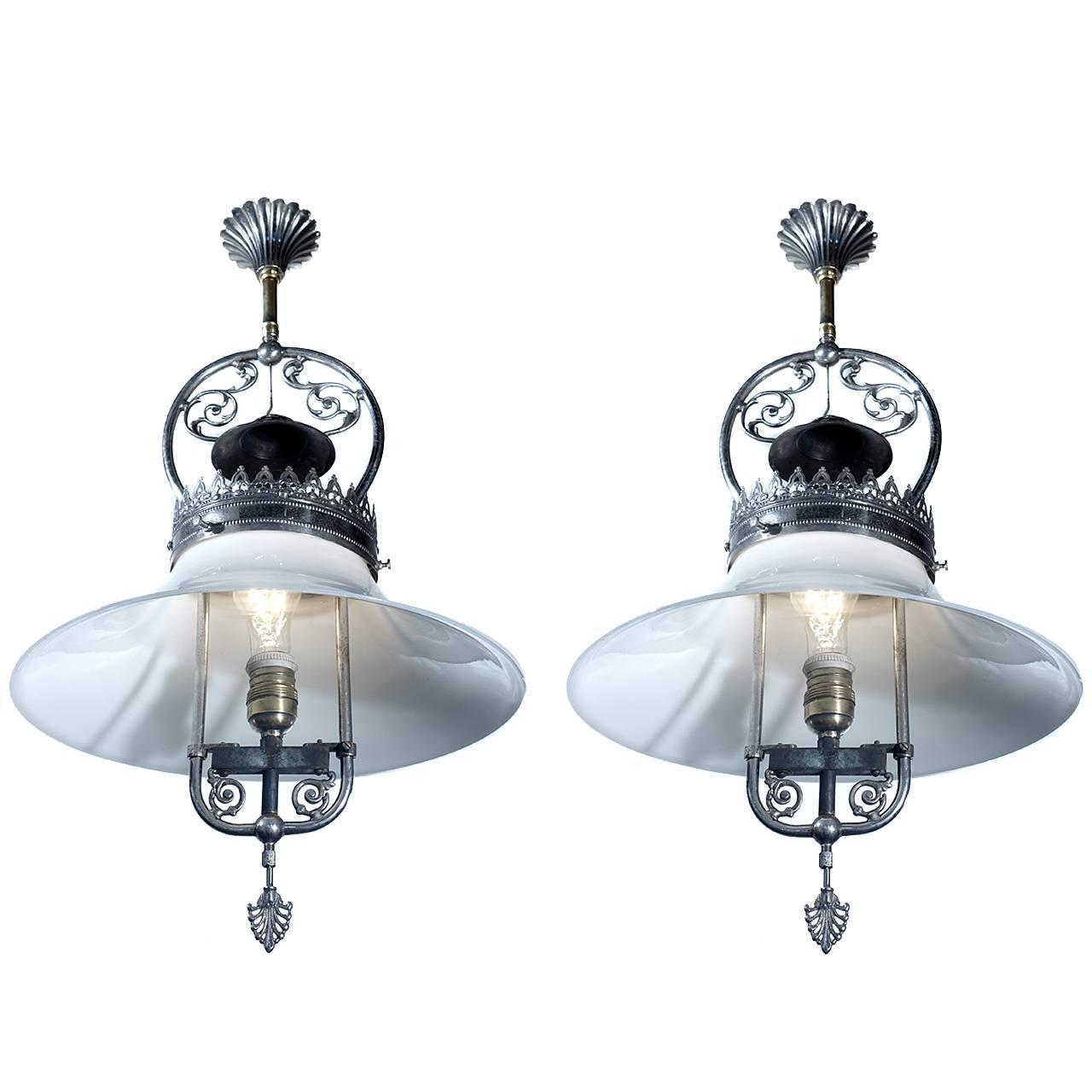 pair of ornate open frame converted gas lamps at 1stdibs. Black Bedroom Furniture Sets. Home Design Ideas