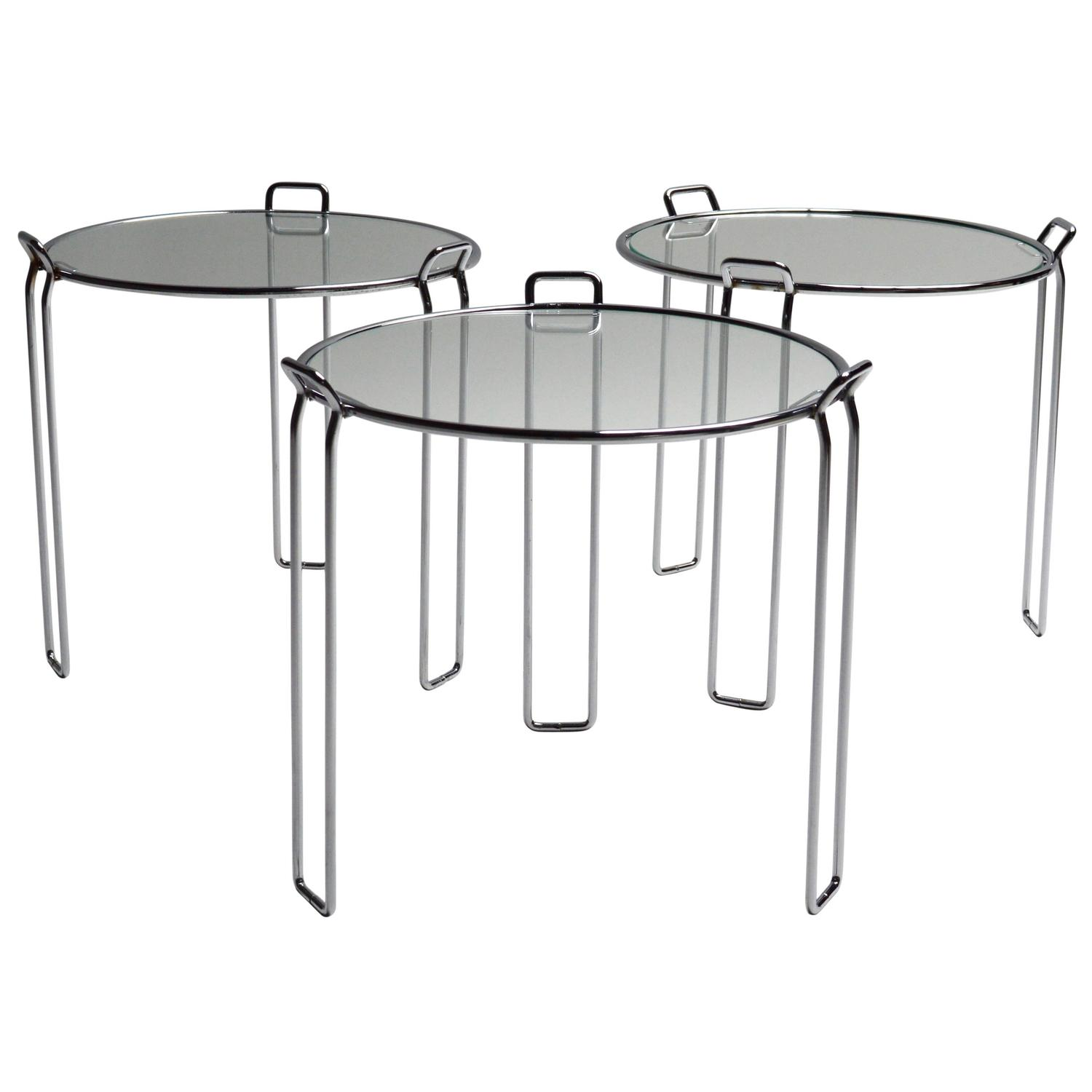 set of three t stackable tables by vico magistretti for azucena  - stackable set of three nesting tables by saporiti