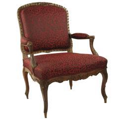 Komfortabler Armlehnstuhl aus Eiche, Frankreich, 18. Jahrhundert
