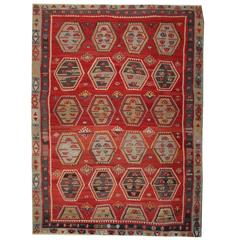 Red Antique Rugs, Hand woven Turkish Kilim Rug, Sarkisla Carpet Rug of Anatolia