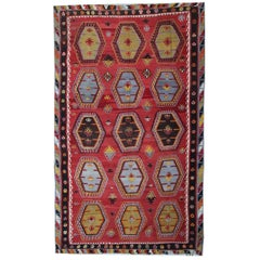 Red Antique Rugs, Hand woven Kilim Turkish Rug, Sarkisla Carpet Rug