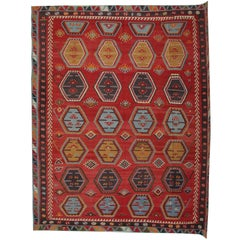 Handmade Oriental Rug Antique Anatolian Turkish Kilim Rug