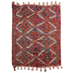 Oriental Antique Turkish Kilim Rug with golden metal spun wool, Carpet Anatolia
