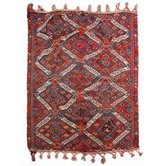 Antique Turkish Kilim Rug with golden metal spun wool, Carpet from Anatolia