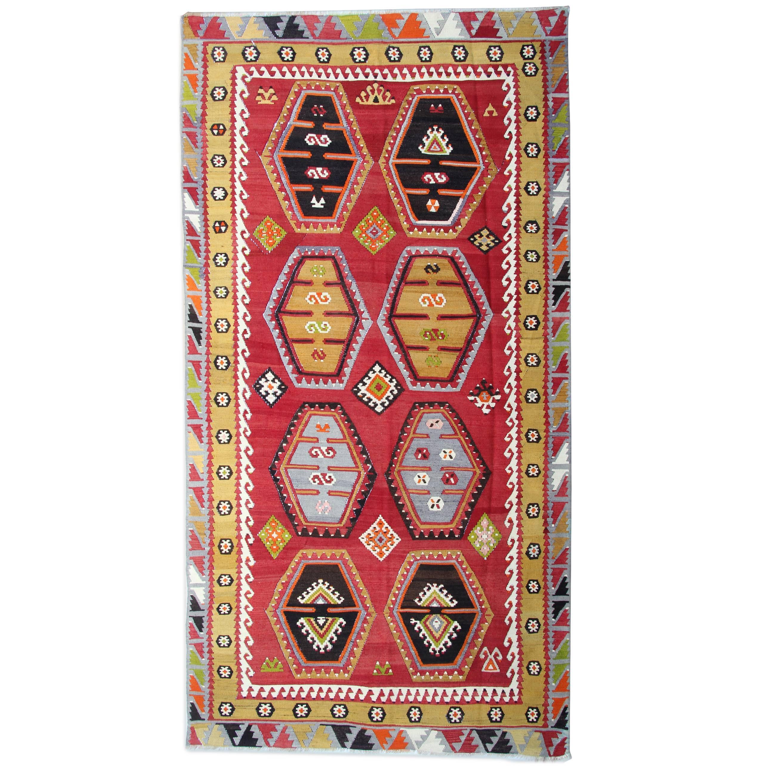 Antique Rug Anatolian Turkish Kilim Rug, Luxury Living Room Rug