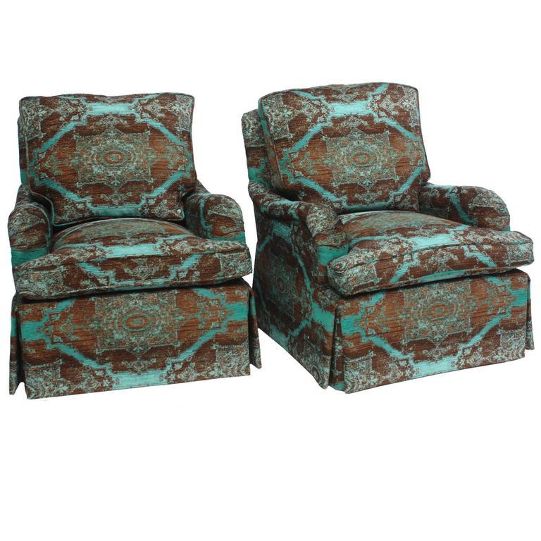 Pair of English Saddle Arm Club Chairs 1