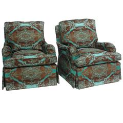 Pair of English Saddle Arm Club Chairs