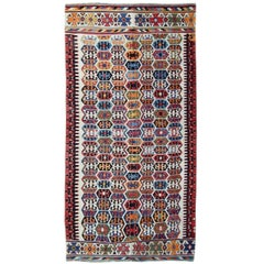 Antique Rug, Hand Made Carpet Oriental Rug, Turkish Kilim Rugs for Sale