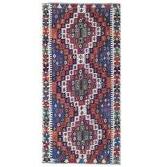 Handmade Carpet Antique Rug Oriental Caucasian Kilim Rug Runner for Sale