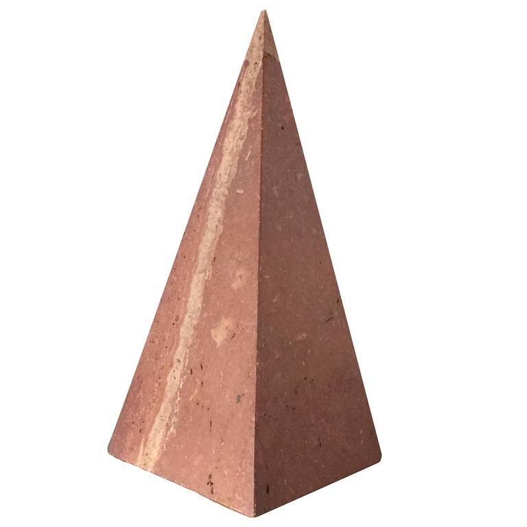 Decorative Red Travertine Pyramid, Italy, 1970s