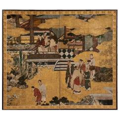 Japanese Two-Panel Screen Chinese Court Scene