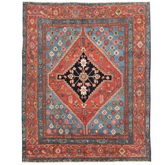 Antique Persian Bakhshaish Carpet with a Unique Geometric Medallion and Design