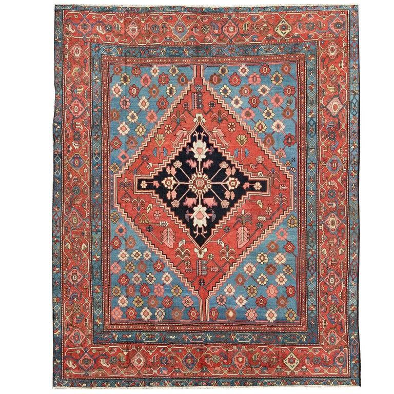 Antique Persian Bakhshaish Carpet with a Unique Geometric Medallion and Design