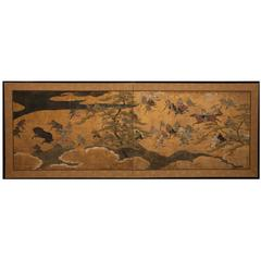 Japanese Two Panel Screen: Samurai Horse Roundup