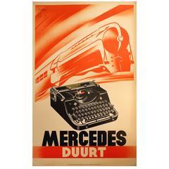 "Original Vintage 1930s Art Deco Advertising Poster ""Mercedes Duurt Typewriters"""