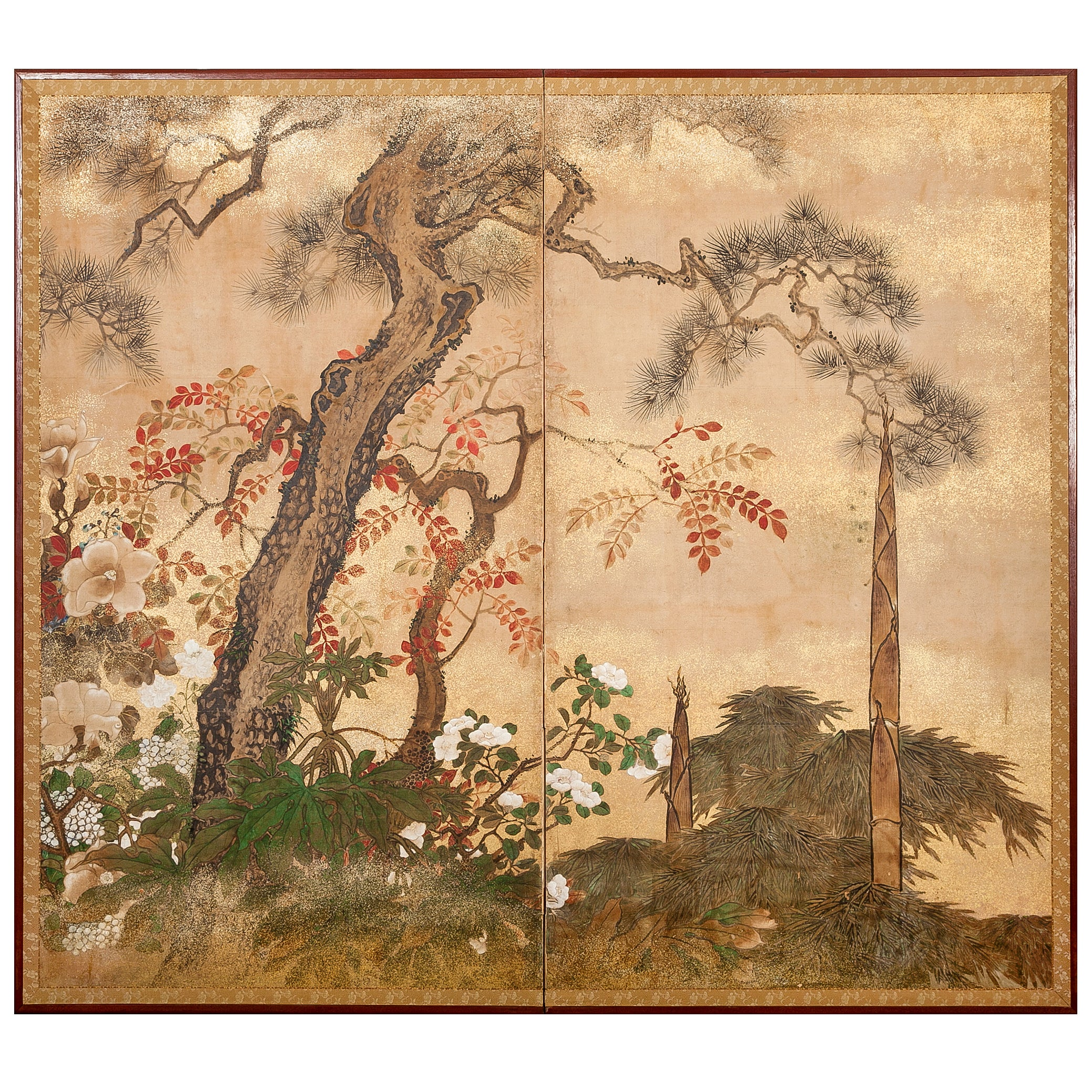 Japanese Two Panel Screen: Trees in Floral Landscape