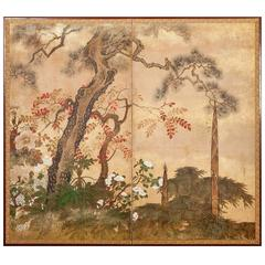 Japanese Screen 'Trees in Floral Landscape with Gold Dust'