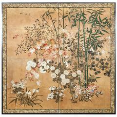 Japanese Screen 'Summer Floral Garden'