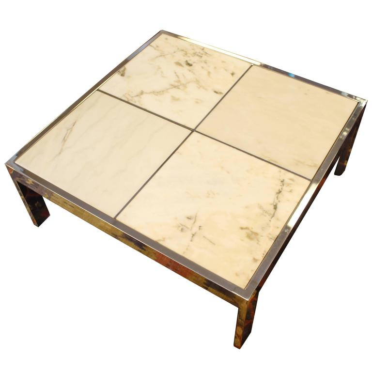 Pace Marble And Chrome Square Coffee Table At 1stdibs