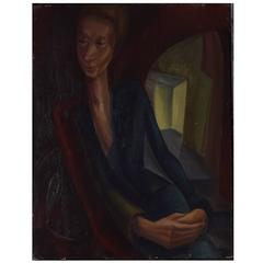German Expressionist Style Portrait Painting, circa 1940