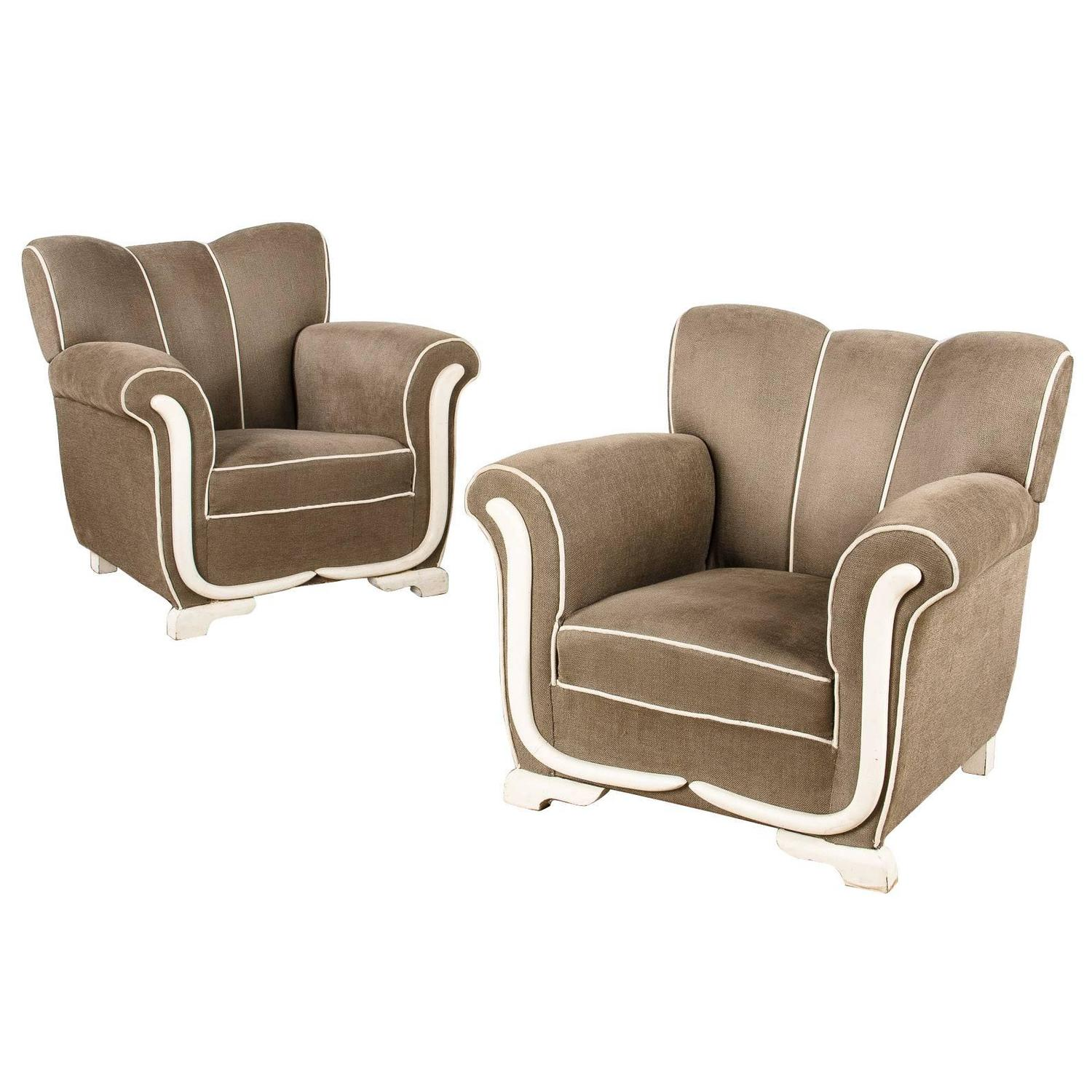 A Pair Of Period French Chairs With Missoni Fabric At 1stdibs: Pair Of Art Deco Upholstered French Armchairs, 1940s For