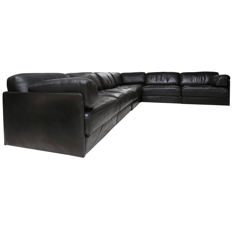 De Sede Ds 76 Black Leather Sofa at 1stdibs