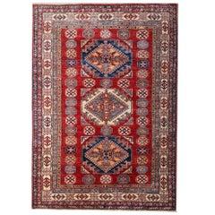 Red Oriental Rug, Geometric Handmade Carpet Rustic Traditional Kazak Rugs