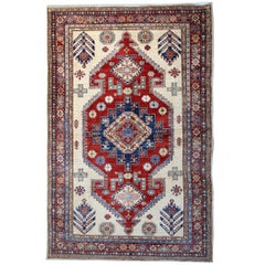 Cream Handmade Kazak Rugs, Persian Style Rugs, Carpet from Afghanistan