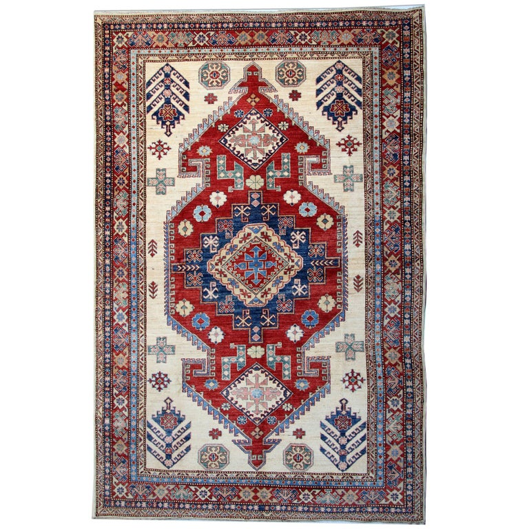 Cream Handmade Kazak Rugs, Persian Style Rugs, Carpet from Afghanistan For Sale