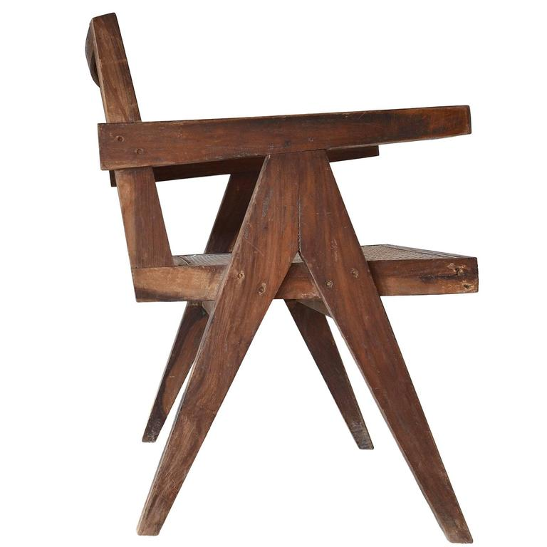 Exceptional Unrestored Pierre Jeanneret Armchair for Chandigarh  For Sale