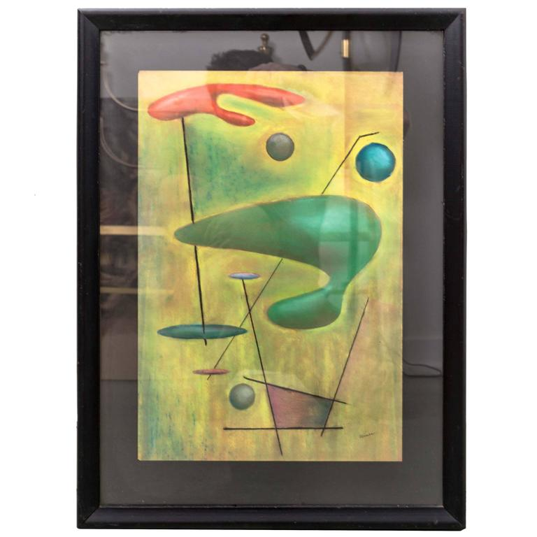 Signed Mid-Century Modernist Pastel Drawing by Funky Finders For Sale