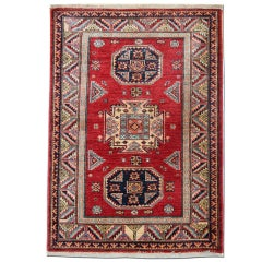 Persian Style Red Rugs, Handmade Carpet from Kazak Small Rugs Enter way Door Mat