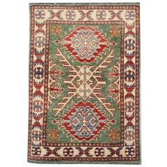 Handmade Carpet Green Kazak Rug, Living Room Rugs for Sale