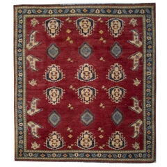 Oriental Rugs, Red Square Rugs, Geometric Wool Hand Made Carpet for Sale