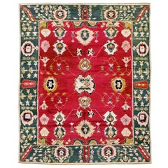 Mid-20th Century Handmade Indian Lahore Room Size Rug In Maroon and Green