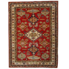 Geometric Red Rugs, Afghan Rugs, Kazak Rugs, Carpet from Afghanistan