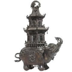 19th Century Elephant and Pagoda Bronze Censer