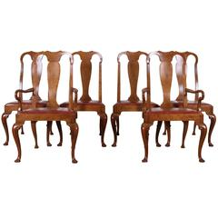 Set of Six Walnut Queen Anne Style Dining Chairs by Baker