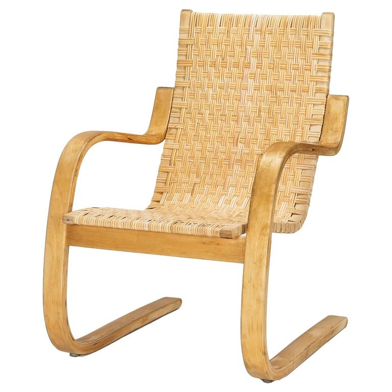 Alvar Aalto Cantilever Chair 406 By Artek In Birch And Cane Webbing