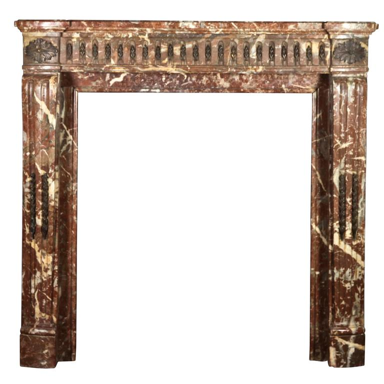 Brown Fireplace Mantel : Th century antique fireplace mantel in brown belgian