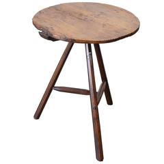 Very Early Elm Folk Art Cricket Table