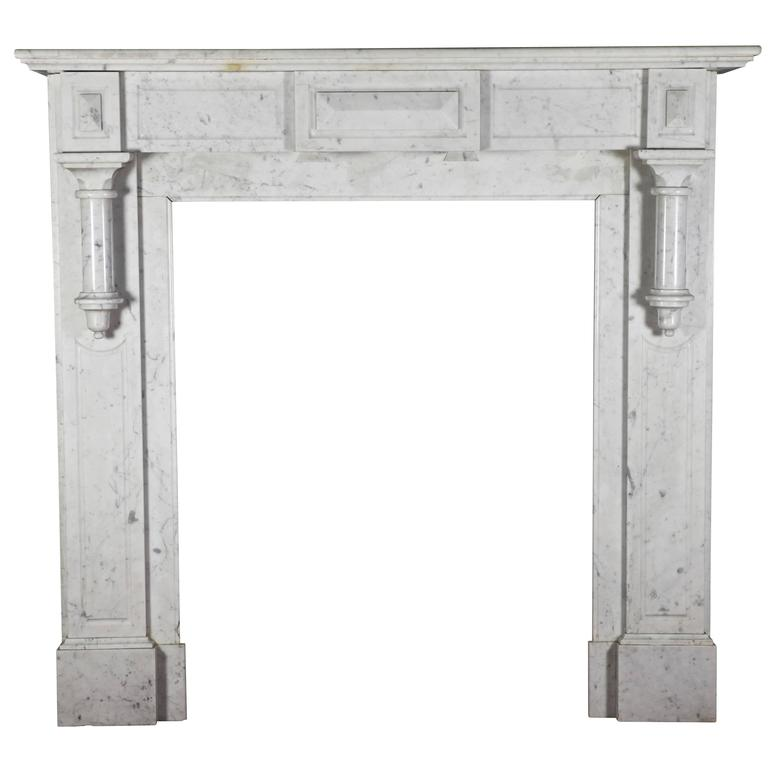 20th Century Antique Fireplace Mantel in Carrara Marble