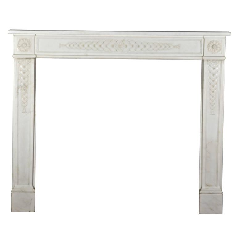 18th Century White Statuary Marble Antique Fireplace Mantel