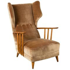 Open Arm Wingback Chair by Paolo Buffa