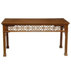 English Gothic Revival Console/Serving Table with Fretwork Frieze