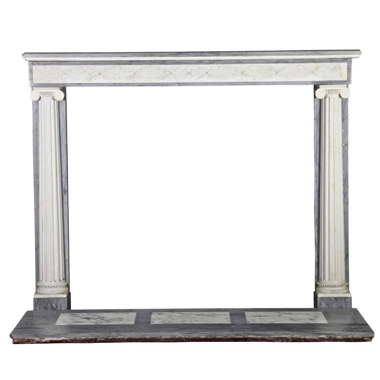 18th Century Antique Fireplace Mantel in White Statuary and Bleu Turquin Marble