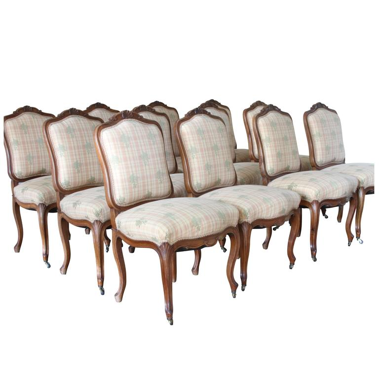 Set of 12 Antique French Carved Fruitwood Dining Chairs For Sale - Set Of 12 Antique French Carved Fruitwood Dining Chairs At 1stdibs